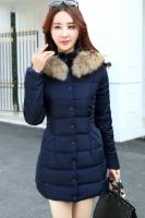 JAKET BULU KOREA BIG SIZE - Navy Fur Padded Jacket