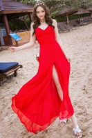 LONG DRESS WANITA KOREA - RED SUMMER LONG DRESS