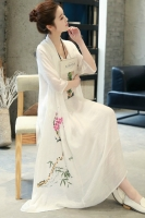 LONG DRESS WANITA KOREA - White Summer Korean Maxi Dress