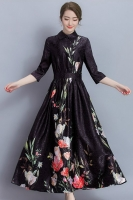 LONG DRESS FLORAL WANITA KOREA - Black Big Size Long Dress