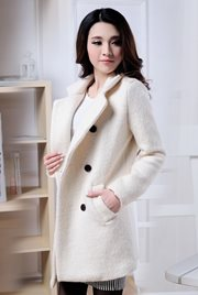 LONG COAT WANITA - White Woolen Coat