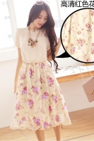 DRESS CANTIK KOREA - Red FAKE 2Pcs Summer Dress