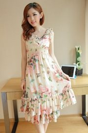 DRESS CHIFFON KOREA STYLE - Pink Floral Dress