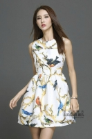 DRESS CANTIK KOREA - Polyester Chiffon Printing Dress
