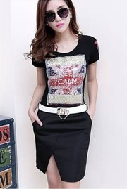 BAJU IMPORT KOREA STYLE - Black Cotton Dress