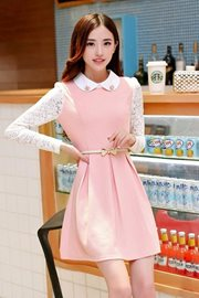 DRESS WANITA KOREA - Pink Lace Dress