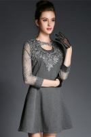 DRESS CANTIK KOREA - Gray Charming Dress