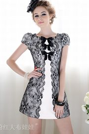 DRESS LACE KOREA - Lace European Look Dress