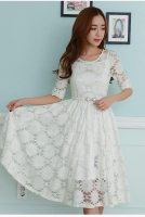 DRESS CANTIK KOREA -  White Big Size Lace Dress