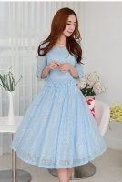 DRESS CANTIK KOREA - Blue Big size Dress