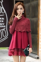 DRESS CANTIK - Fake 2pcs Lace Dress Sweater