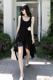 DRESS CHIFFON KOREA - Black Asimetris Korean dress