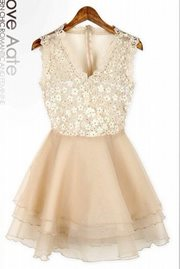 DRESS LACE KOREA - High Quality Apricot Lace Dress