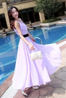 LONG DRESS CHIFFON - Purple Maxi Dress