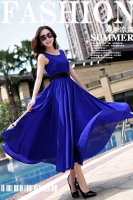 LONG DRESS CHIFFON - Blue Maxi Dress