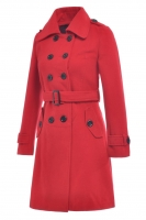 JAKET WANITA KOREA BIG SIZE - Red Korean Trench Coat