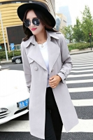LONG COAT WANITA KOREA - Gray Korean Trench Coat
