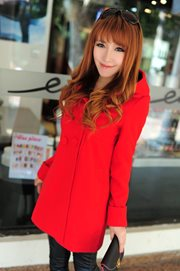 LONG COAT KOREA - Red Hoodie Coat