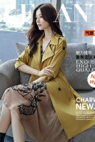 LONG COAT WANITA KOREA - Yellow Windbreaker Coat