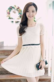 DRESS CHIFFON KOREA STYLE - Apricot Chiffon dress
