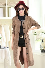 JAKET PANJANG KOREA - LightTan Long Cardigan