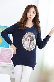 BAJU WANITA KOREA - Blue Knitted Sweater