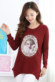 BAJU WANITA KOREA - Red Knitted Sweater