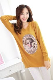 BAJU WANITA KOREA - Yellow Knitted Sweater