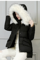 JAKET BULU IMPORT - Black Fur Down Coat