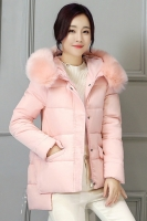 JAKET BULU IMPORT - Pink Fur Down Coat