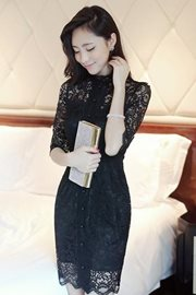 DRESS LACE - Elegant Black Lace Dress