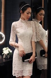 DRESS LACE - Elegant White Lace Dress