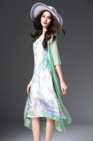 GREEN FAKE 2PCS DRESS - Dress cantik Chiffon Korea