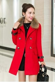 JAKET BULU WANITA - Red Long Coat