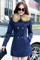 JAKET BULU KOREA - Navy Modern Fur Coat