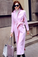 LONG COAT WANITA KOREA - PINK WOOLEN COAT