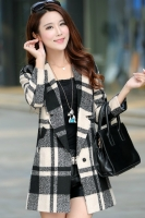 LONG COAT WANITA KOREA - Gray Square Pattern Coat