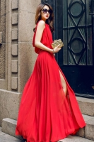 SEXY LONG DRESS - Chiffon Long Dress Merah