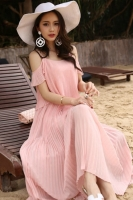 LONG DRESS WANITA KOREA - Pink Chiffon Korean Long Dress