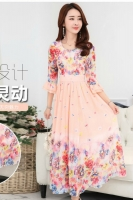 LONG DRESS CHIFFON CANTIK - Apricot Floral Chiffon Maxi Dress