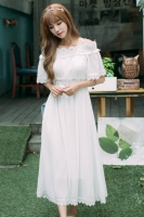 LONG DRESS PUTIH - MAXI DRESS IMPORT KOREA STYLE