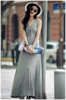 LONG DRESS WANITA KOREA - Gray Summer Korean Maxi Dress