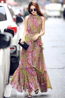 FLORAL CHIFFON LONG DRESS - Long Dress Wanita Korea Ungu
