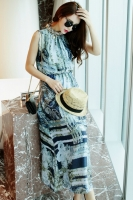 LONG DRESS KOREA - Blue Abstract Korean Maxi Dress