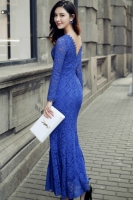 LONG DRESS LACE KOREA - Blue Lace Dress