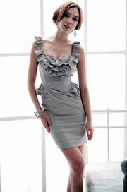 DRESS CANTIK KOREA - Gray Goddess Dress