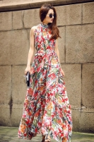 FLORAL CHIFFON LONG DRESS - Long Dress Wanita Korea