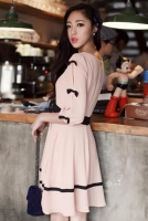 DRESS CANTIK KOREA - Pink Chiffon Dress