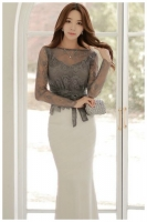 SET LONG DRESS KOREA - 2Pcs Lace Blouse n Skirt