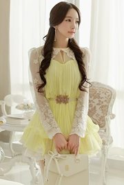 DRESS CANTIK WANITA - Yellow Chiffon Dress
